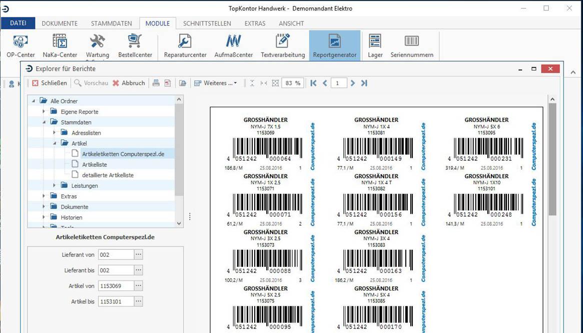 Bildschirmfoto mit Barcodes
